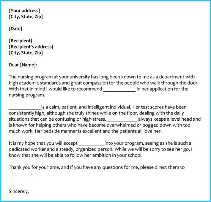 recommendation letter for nursing school from employer