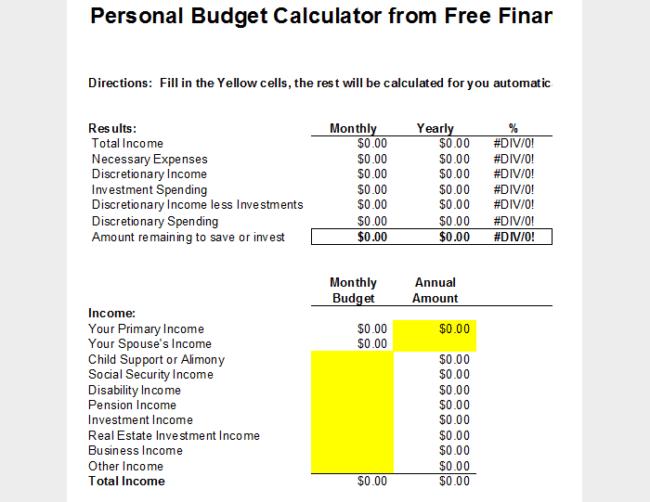 online budget tools