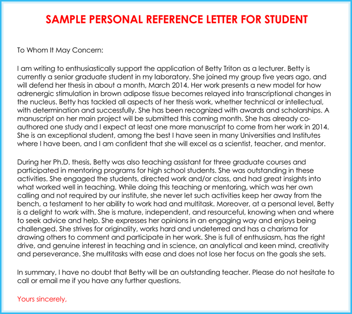 personal letter of reference format
