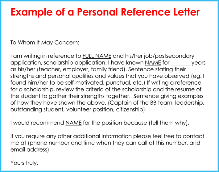 personal reference letters samples