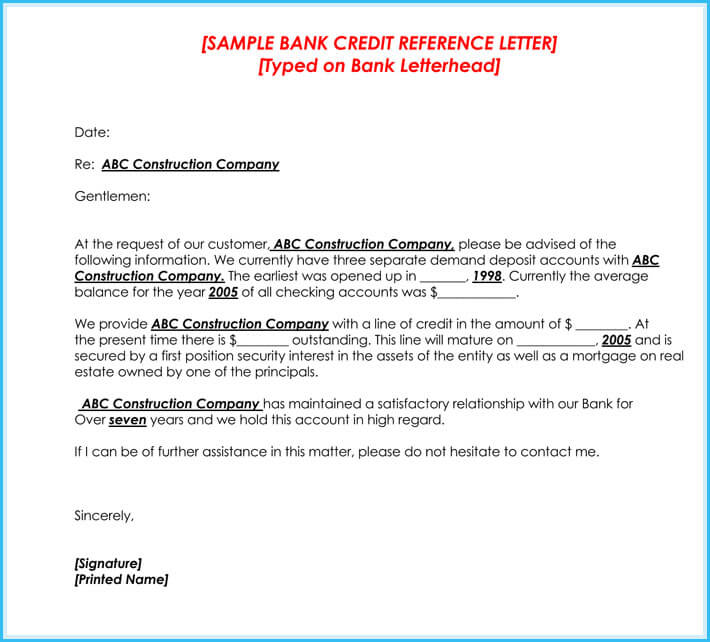 Credit Reference Letter - 6 Best Samples - Write Perfect Reference - company referral letter