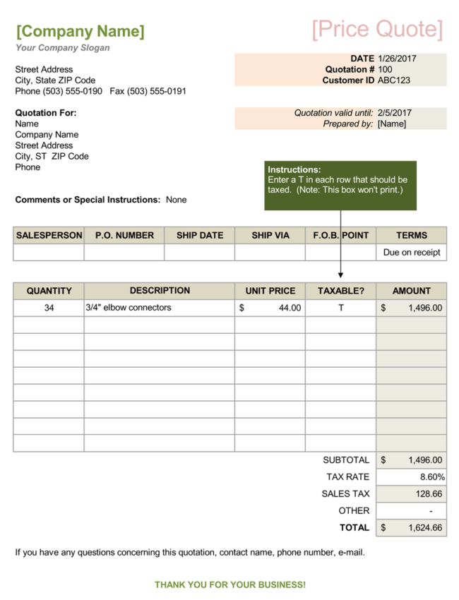 excel sales quote template