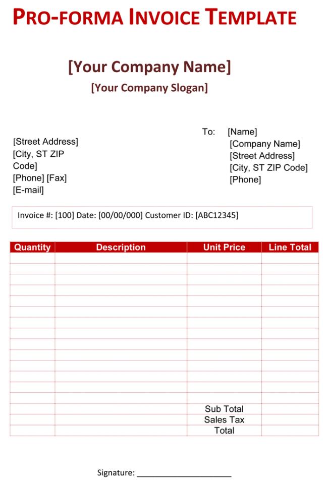 Proforma Invoice Blankerorg Pro Forma Invoice Template 5 Free Pro Forma Invoices