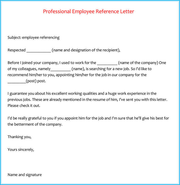 Reference Letter Examples - 20+ Samples, Formats  Writing Tips - letter of reference for employee