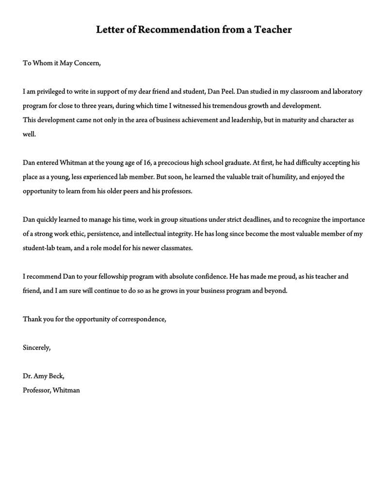 letter of recommendation for substitute teachers