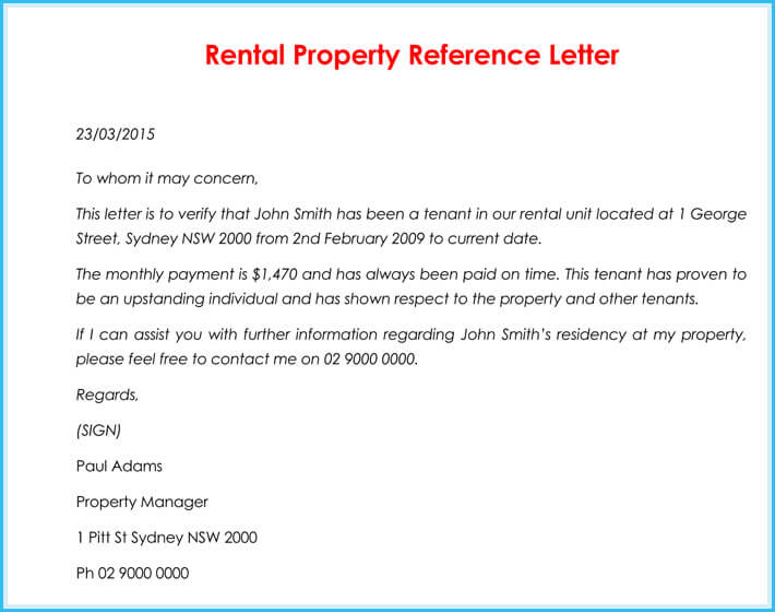 Rental Reference Letter - 9+ Samples, Formats for Prefessionals - rental reference