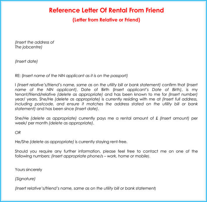 Rental Reference Letter - 9+ Samples, Formats for Prefessionals - how to format a reference letter