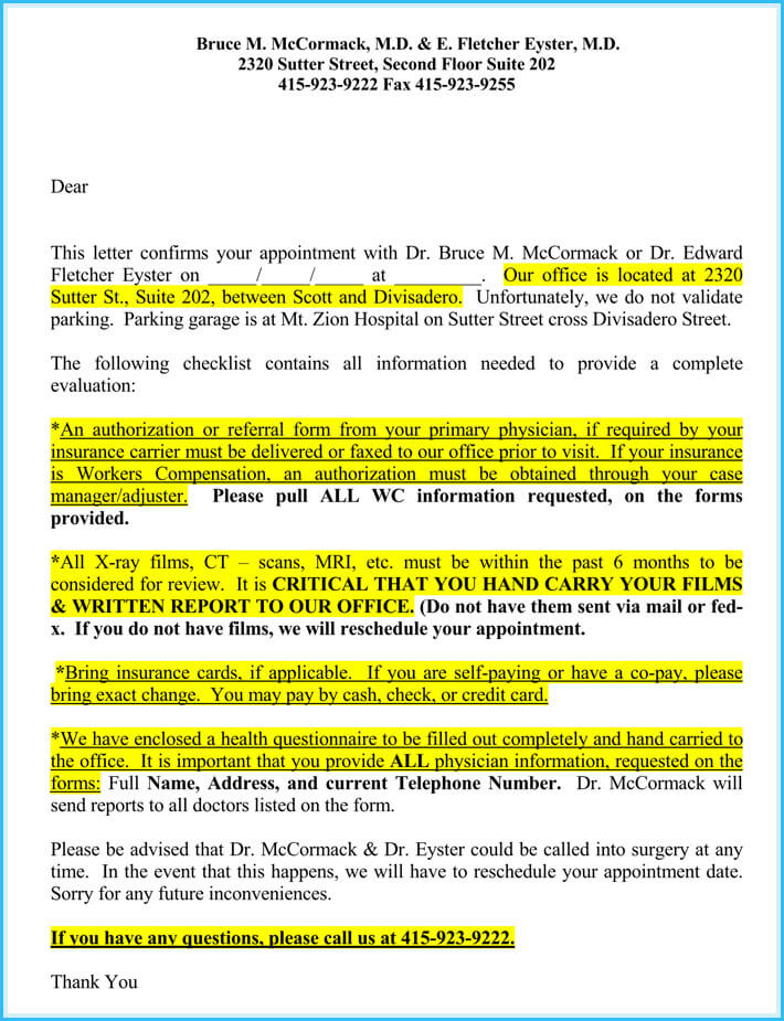 Reschedule Appointment Letter (7+ Sample Letters and Templates)