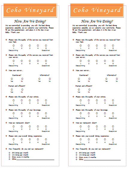 restaurant survey sample microsoft word template