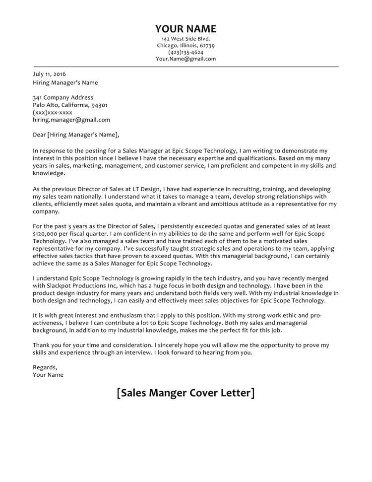 cold cover letter sample