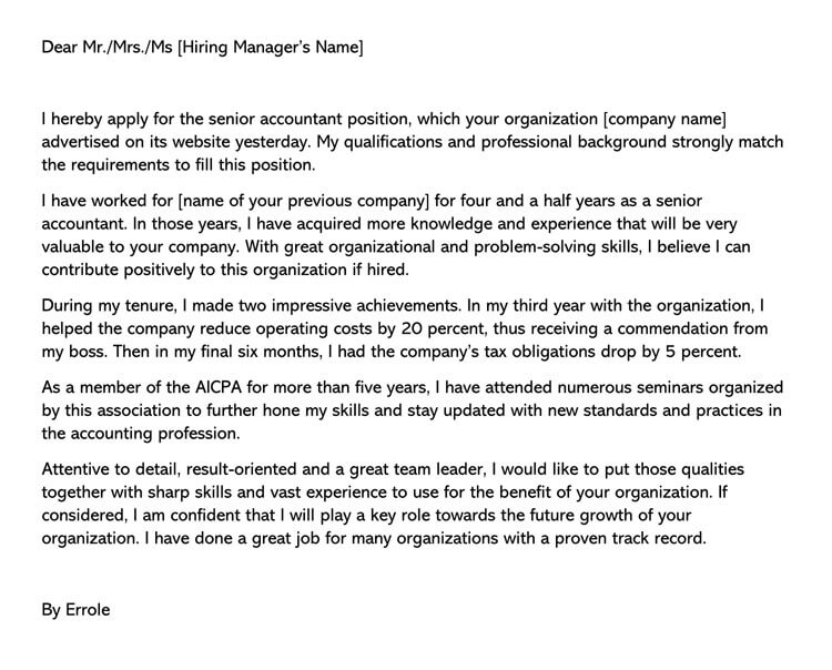 Accounting Cover Letter How to Write (with Sample Letter)