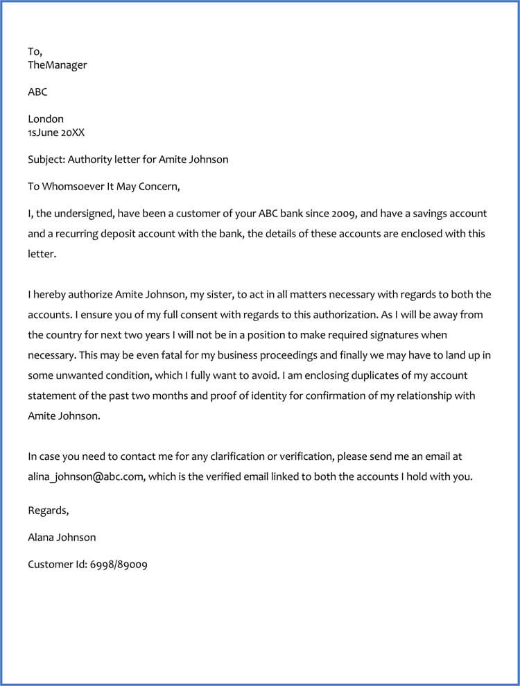 Authorization Letter to Operate Bank Account (Sample  Templates)