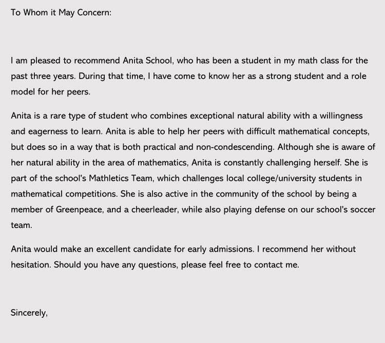 letter of recommendation for college admission sample