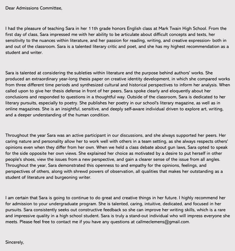 Write a Great College Recommendation Letter (7+ Samples  Examples) - sample college recommendation letters