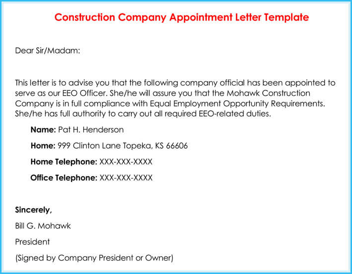 Company Appointment Letters - 20+ Samples, Examples  Formats - sample appointment letter