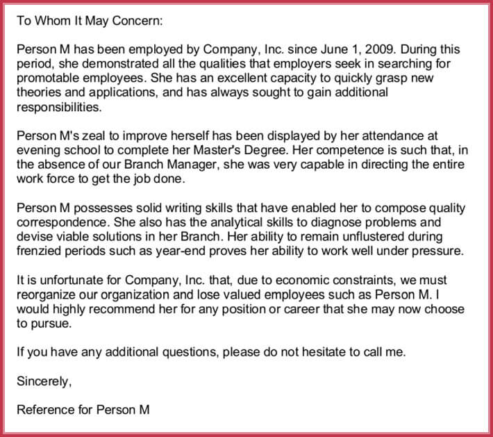 example of reference letter for a job