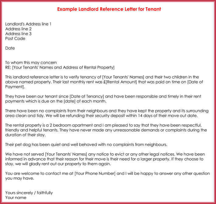 letter to tenant