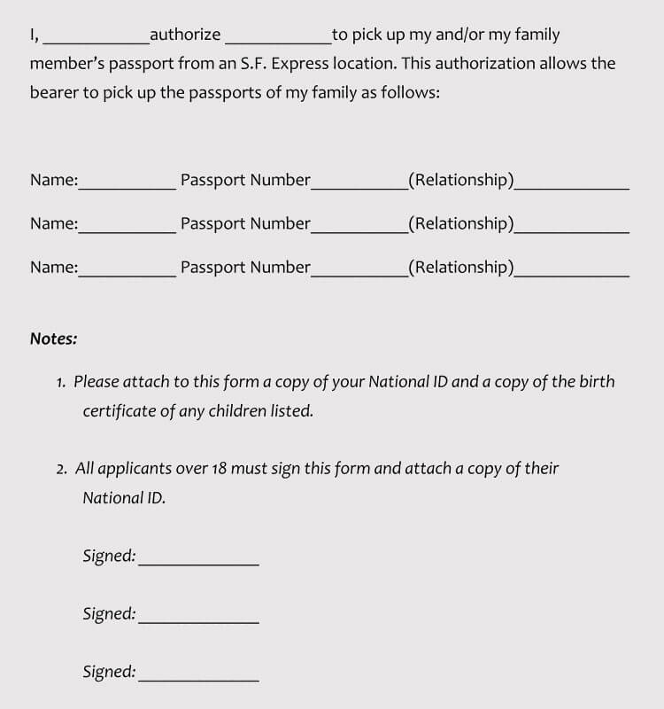 Authorization Letter to Collect Passport (5+ Samples  Templates) - passport authorization letter