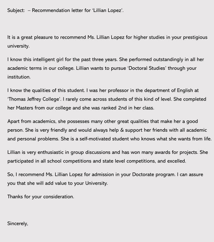 recommendation letter for admission sample letters