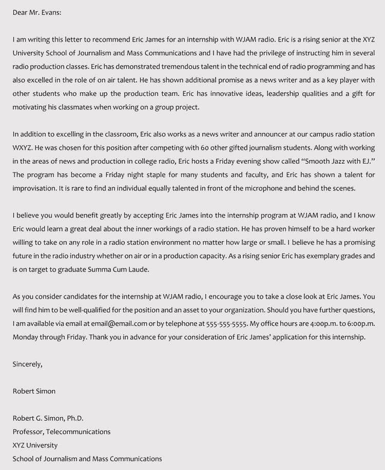 Internship Reference Letter Images - Letter Format Formal Sample