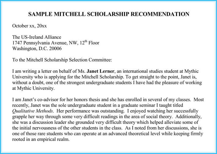 example of a recommendation letter for a scholarship