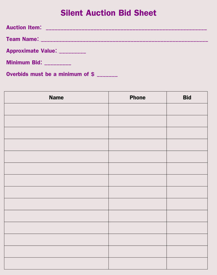 Bid Sheet Templates for Silent Auction (in Word, Excel, PDF Format)