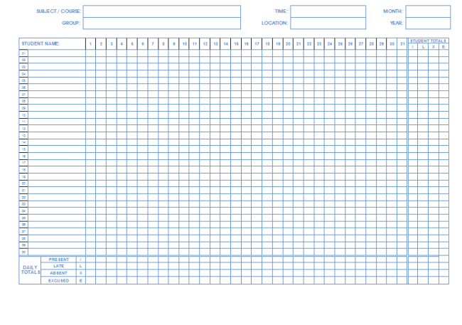 attendance template microsoft word