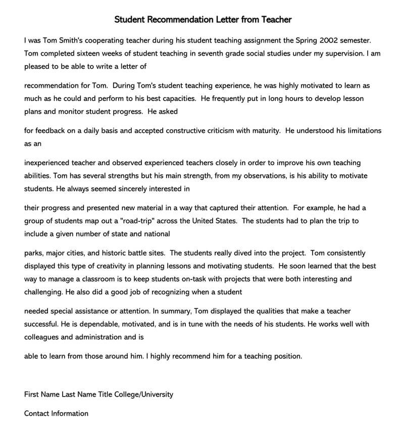 Student Recommendation Letter (15+ Sample Letters and Examples)