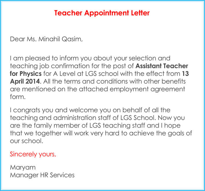 Teacher Appointment Letter Templates - 7+ Samples in Word, PDF - Letter To A Teacher