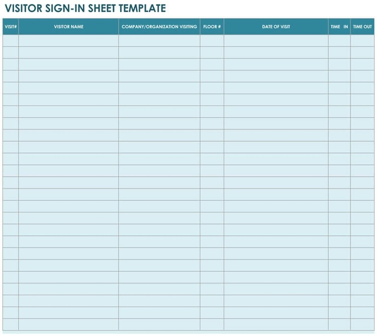 16+ Free Sign-in  Sign-up Sheet Templates (for Excel  Word)