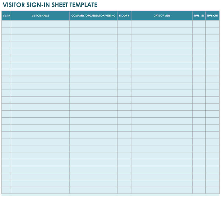 visitor sign in sheet template excel