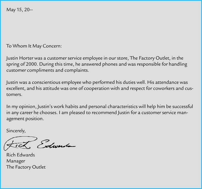 letter of recommendation employee template