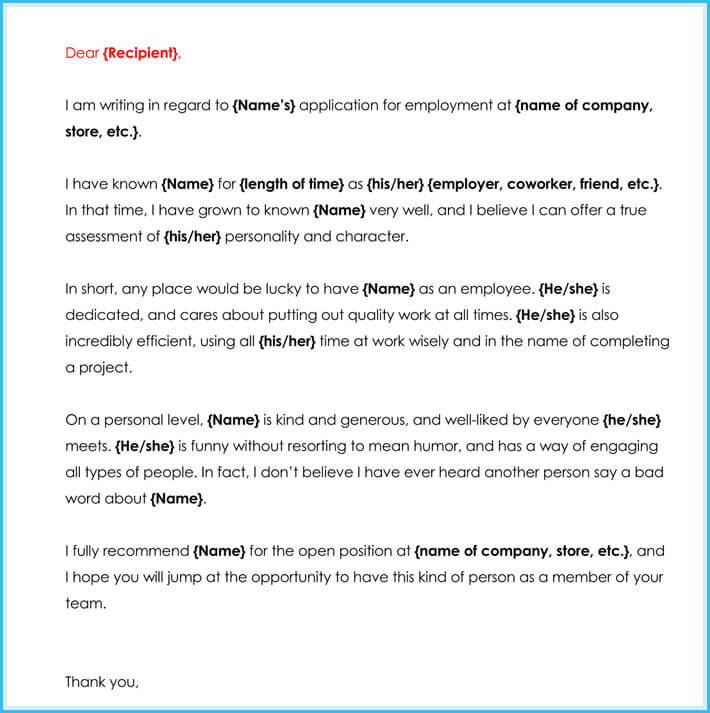 character sample letter of recommendation