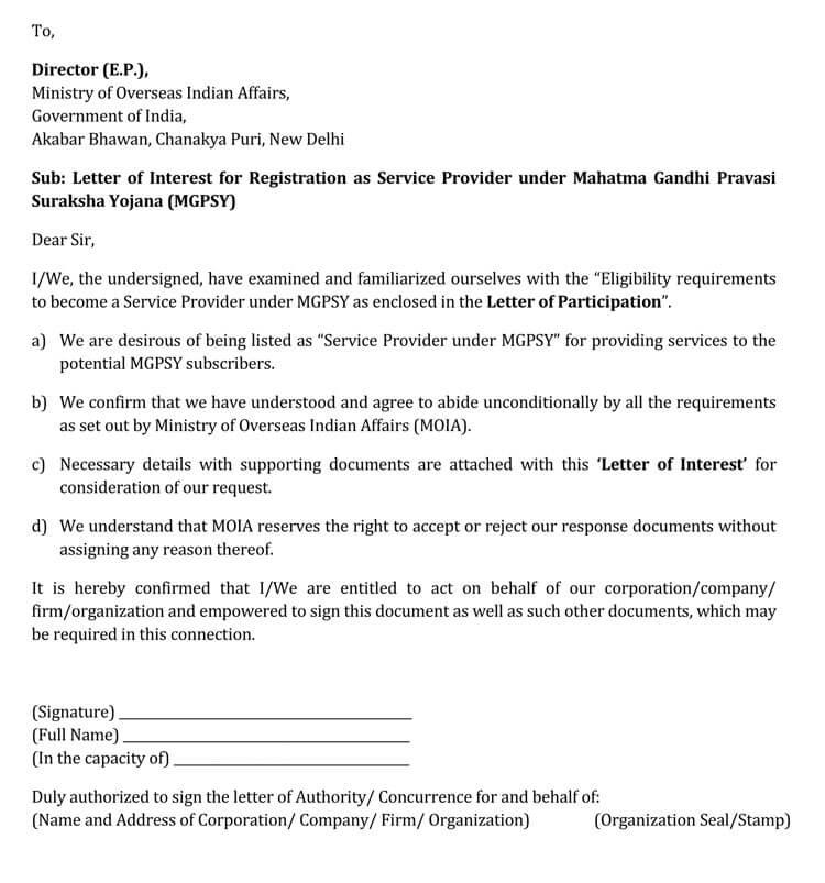 letter of interest for job position