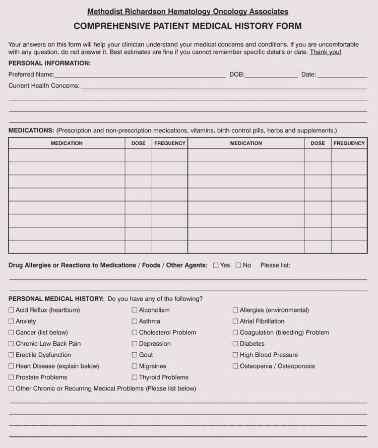 General Medical History Forms (100 Free) - Word, PDF