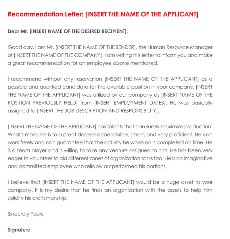 Recommendation letter for Employment (30+ Sample Letters  Examples)