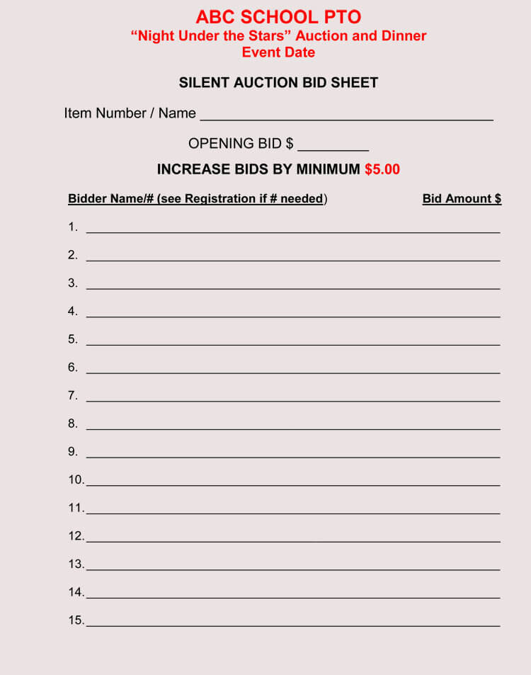 bid sheet templates