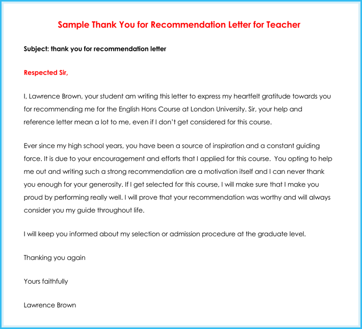 model letter of recommendation
