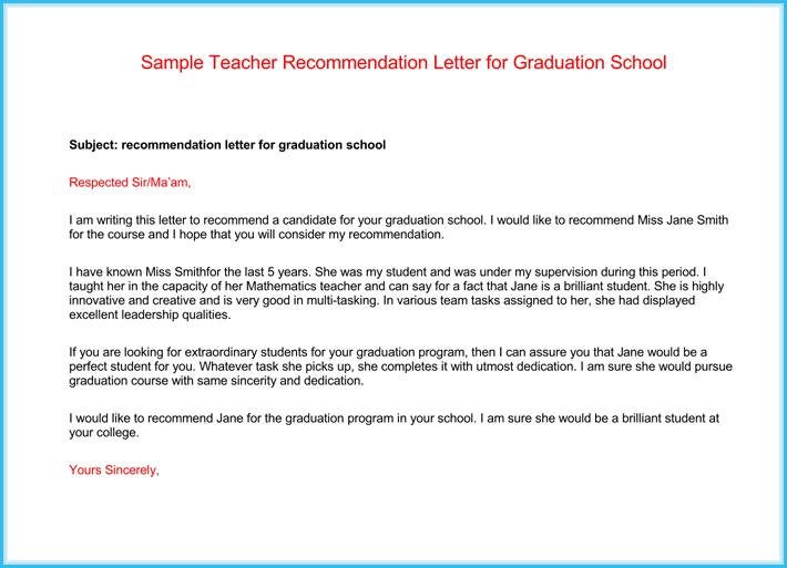 student recommendation letter from teacher