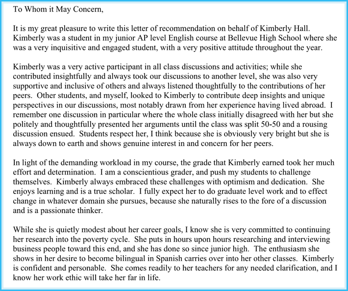 letter of recommendation from teacher for college