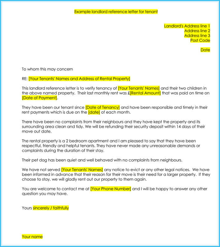 Tenant Reference Letter - How to Write it with 5+ Samples, Formats - tenant reference letter