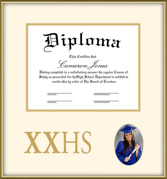 Gold High School Diploma and Photo Frame Wordyisms