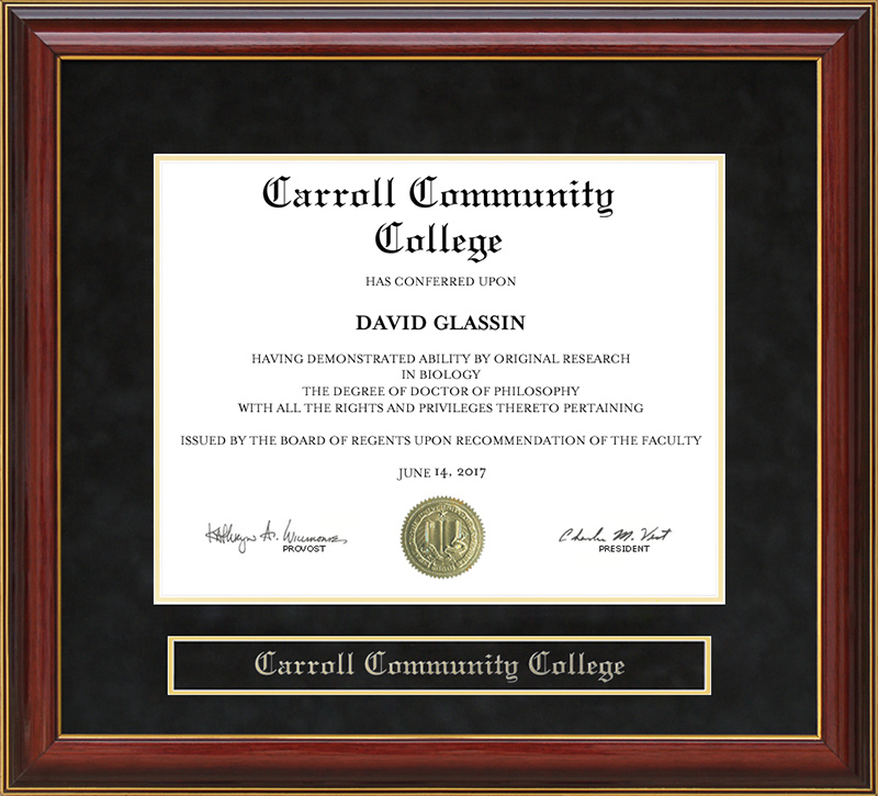 Carroll Community College Mahogany Diploma Frame Wordyisms