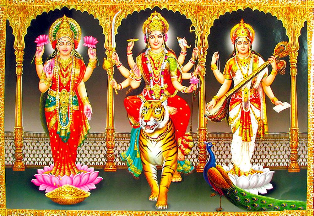 3d Ayyappa Wallpapers High Resolution Tridevi Lakshmi Durga Saraswati Wordzz