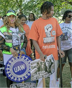 Nissan autoworkers traveled from Mississippi to D.C. They are fighting for a union.WW photo: G. Dunkel