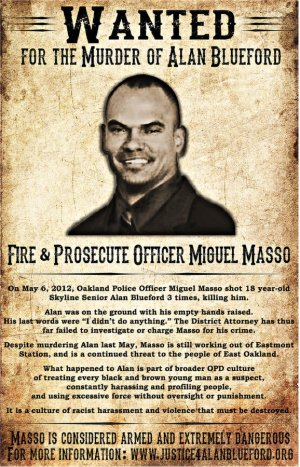 'Wanted' poster for cop who killed Alan Blueford.