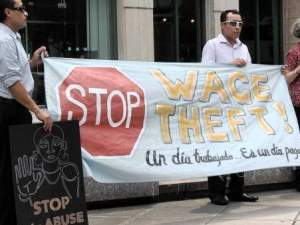Adelante Worker Center protest against wage theft.