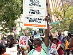 Black and immigrant lives matter to national convention of Fight for 15 low-wage workers, Richmond, Va.