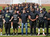 Oklahoma University football team protests racist fraternity last spring.