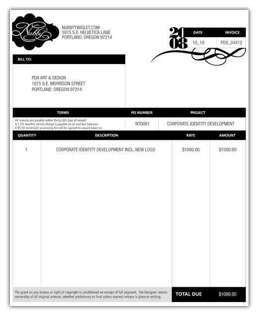 invoice for design work - Minimfagency - graphic design invoices